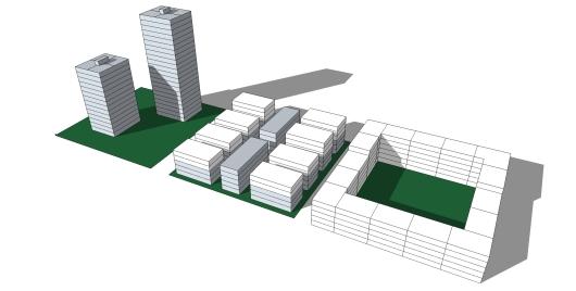 """השוואה בין מגדל (משמאל) בינוי ישראלי טיפוסי (מרכז) ומבנה חצר בצפיפות אחידה של 20 יח""""ד לדונם נטו"""